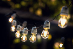 Party string lights hanging in a line. At backyard Royalty Free Stock Photography
