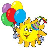 Party sun with balloons Royalty Free Stock Images