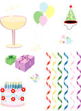 Party Supplies. This page is full of party decorations and supplies that you can use in a promotion, publication, or greeting card Royalty Free Stock Photo