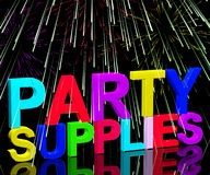 Party Supplies Words Showing Birthday Stock Images