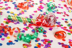 Party-Szene mit Confetti Stockbilder