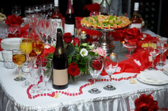 Party table. Party celebrating table drink food Royalty Free Stock Photo