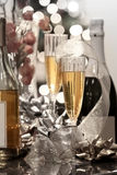 Party table. With Champaign ,Wine and Christmas decoration Royalty Free Stock Image