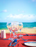 Party table on the beach Stock Photography