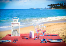 Party table on the beach Royalty Free Stock Photos