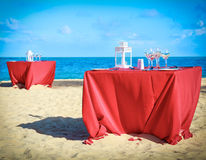 Party table on the beach Royalty Free Stock Images