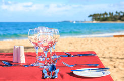 Party table on the beach Stock Images
