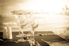 Party table on the beach Royalty Free Stock Image