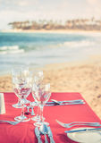 Party table at the beach Stock Photo