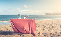 Party table at the beach Stock Images