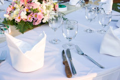 Party table with flowers Stock Photo