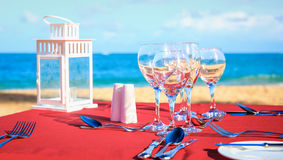 Party Table On The Beach Stock Image