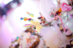 Party table setting. On a birthday Royalty Free Stock Photo