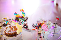 Party table setting. On a birthday Royalty Free Stock Photos