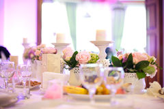 Party table setting. On a birthday Stock Photos