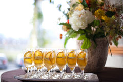 Party table setting. With beverages Stock Photography