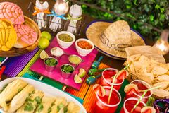 Fiesta. Party table with tamales, strawberry margaritas and pan dulche bread