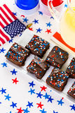 Party table. Variety of desserts on the table for July 4th party Royalty Free Stock Image