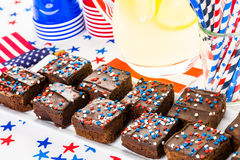 Party table. Variety of desserts on the table for July 4th party Royalty Free Stock Images