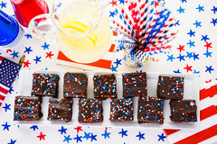 Party table. Variety of desserts on the table for July 4th party Stock Image