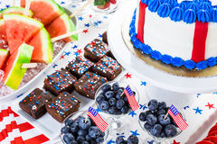 Party table. Variety of desserts on the table for July 4th party Stock Images