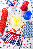 Party table. Variety of desserts on the table for July 4th party Royalty Free Stock Photos