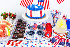 Party table. Variety of desserts on the table for July 4th party Stock Photos