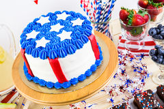 Party table. Variety of desserts on the table for July 4th party Royalty Free Stock Photography