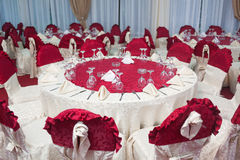 Party tables. Set up in a restaurant Royalty Free Stock Images