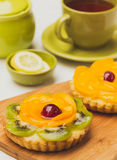 Party tartlets with fresh fruit selective focus Royalty Free Stock Image