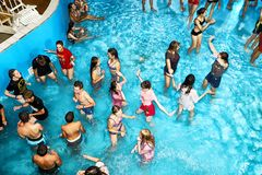 Party for teenagers AQUA MADFLOW at Russia, Kirov city, AquPark named Friendship on 19.08.2018 royalty free stock photo