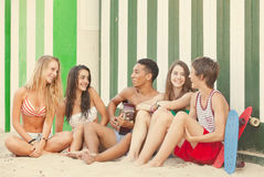 Party,  teens and guitar. Beach party with teens and guitar Royalty Free Stock Image