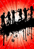 Party Template. Grunge Party Template with silhouette, element for design,  illustration Royalty Free Stock Photo