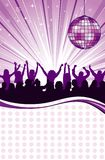 Party Template. With discoball and wave pattern, element for design, vector illustration Royalty Free Stock Photos