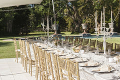 Party Tent Chairs Tables Decor. Decor Dining chairs tables outdoors tent celebration party outdoors at private home Stock Photography
