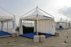 Party Tent. White canopy tent for exibition event and party Stock Photos