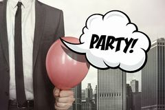 Party text on speech bubble vector illustration