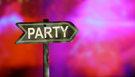 Party text white paint on colorful sweet bokeh background. royalty free stock images