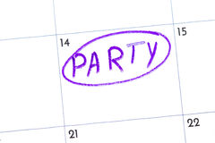 `party` is the text written on the calendar with a black marker Royalty Free Stock Photo