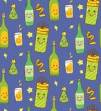 Party theme background with kawaii drink vector illustration