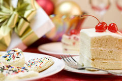 Party theme with cakes and gift Royalty Free Stock Photos