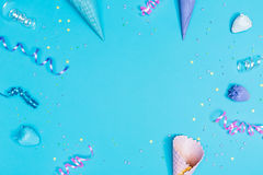 Party theme with ice cream cones Royalty Free Stock Photo