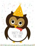 Party owl. Illustration. Poster. Party all the time Royalty Free Stock Image