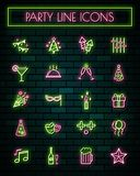 Party thin neon glowing line icons set.vector illustration.  vector illustration