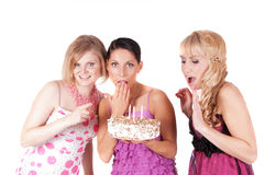 Party with three girls Stock Photos