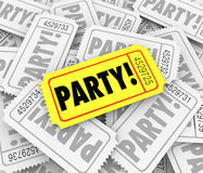 Party Tickets Special Event Celebration Birthday Anniversary Inv Royalty Free Stock Photo