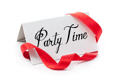 Party time. Handwritten label, isolated in white stock photos