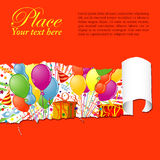 Party time. Party Frame with Balloon, streamer, carnival mask and hat through a hole in a paper,  illustration Royalty Free Stock Images