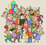 Party time. Illustration of a funny group of people where only one man is sad Royalty Free Stock Photo