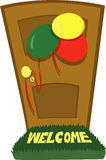 Party time. A  cartoon representing a closed door and some party decorations Royalty Free Stock Photos